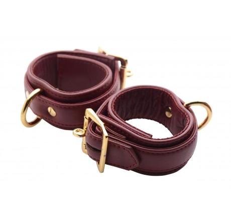 Strict Leather Luxury Burgundy Locking Wrist Cuffs