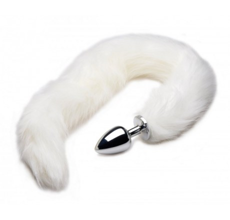 Extra Long Mink Tail Metal Anal Plug- White