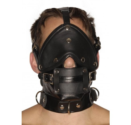 Strict Leather Premium Muzzle with Blindfold and Gags