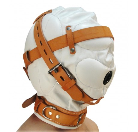 Total Sensory Deprivation White Leather Hood - Small/Medium