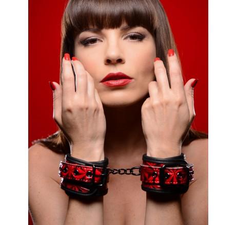 Crimson Tied Embossed Wrist Cuffs