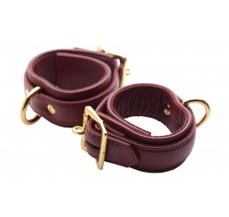 Strict Leather Luxury Burgundy Locking Wrist Cuffs