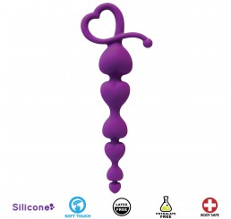 Hearts On A String Silicone Anal Beads - Purple