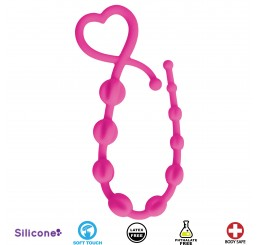Hearts n Spurs Silicone Anal Beads - Pink