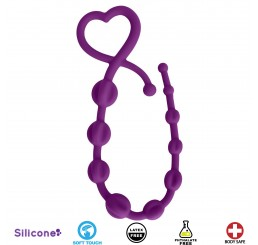 Hearts n Spurs Silicone Anal Beads - Purple