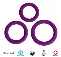 Love Ring Trio Silicone Cock Rings - Purple
