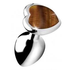 Authentic Tigers Eye Gemstone Heart Anal Plug - Small