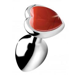 Authentic Red Jasper Gemstone Heart Anal Plug - Small