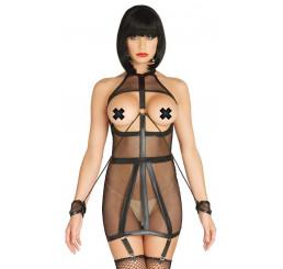Wet Look Fishnet Bondage Garter Dress with Restraint Cuffs