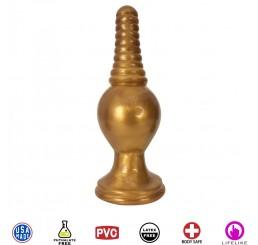 The King Ribbed Tip Anal Plug – Gold
