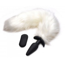Vibrating White Fox Tail Slender Anal Plug