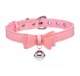 Golden Kitty Cat Bell Collar - Pink/Silver