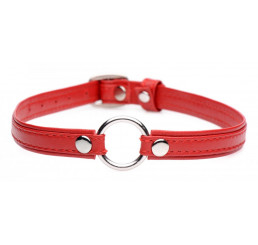 Fiery Pet Leather Choker with Silver Ring