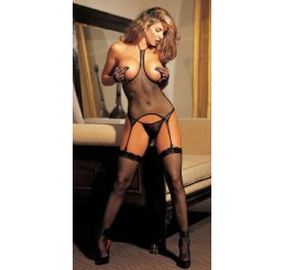 Fishnet Open-Bust 3-Piece Set - Black