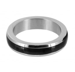 Stainless Steel Cock Ring with Black Band - Large