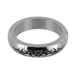 Stainless Steel Cock Ring with Tribal Design - Medium