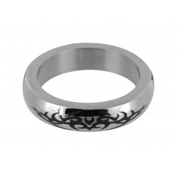 Stainless Steel Cock Ring with Tribal Design - Small