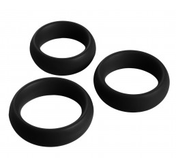 3 Piece Silicone Cock Ring Set - Black