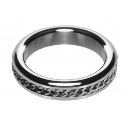Metal Cock Ring with Chain Inlay - 1.75 In