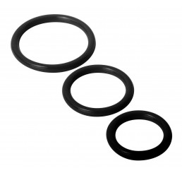 Trinity Silicone Cock Rings, Black