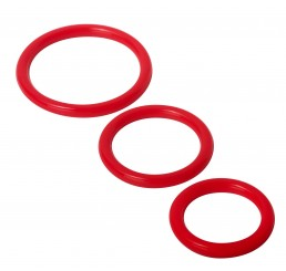 Trinity Silicone Cock Rings, Red