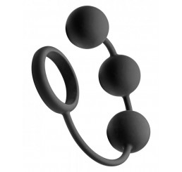 Tom of Finland Silicone Cock Ring with 3 Weighted Balls